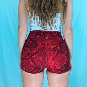 Lululemon Red Snakeskin Booty Shorts